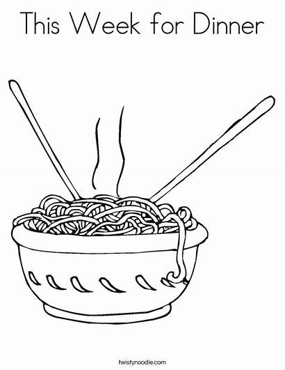 Noodles Coloring Pages Dinner Noodle Colouring Twisty