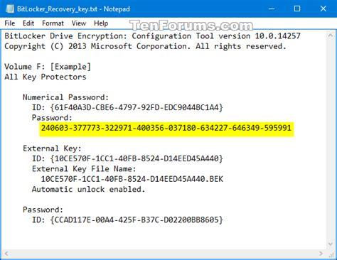 backup bitlocker recovery key  windows  tutorials
