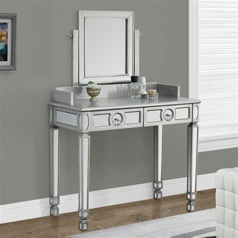 Monarch Specialties Brushed Silver Bedroom Vanity & Mirror