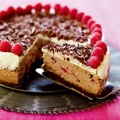 american style baked chocolate  raspberry cheesecake