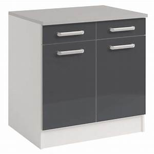 Meuble Bas 2 Portes : meuble bas 2 tiroirs 2 portes 60 cm shiny gris ~ Dallasstarsshop.com Idées de Décoration