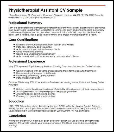 physiotherapist assistant cv sample myperfectcv