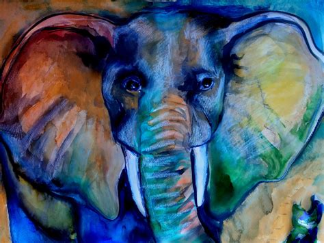 speed painting watercolor free form elephant