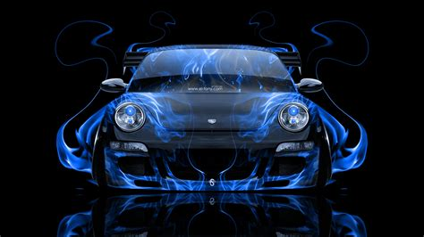porsche  front fire abstract car  el tony