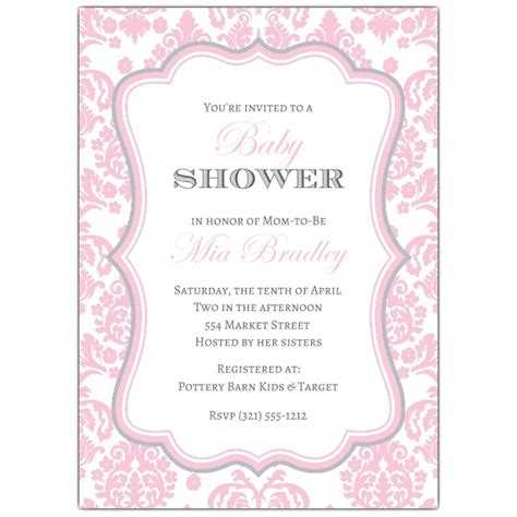 baby shower invitations pink and grey damask pink and grey baby shower invitations