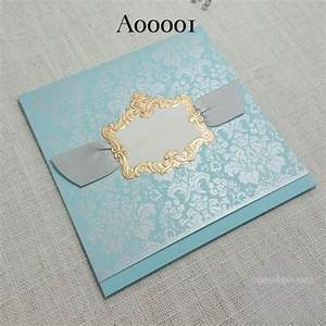 z a00001 teal blue with ribbon gold embossed wedding With embossed wedding invitations nz