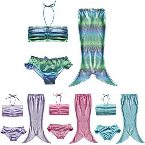 3pcs Fancy Girl Kids Mermaid Tail Swimmable Swimwear