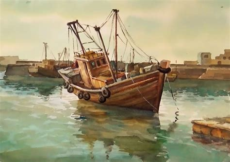 Watercolor Boat by Watercolor Painting Fishing Boats On Sea
