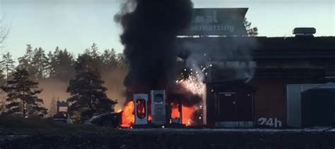 tesla model  engulfed  flames  charging  norway