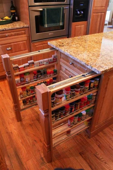Hidden Kitchen Pull Out Storage Shelves In The Island
