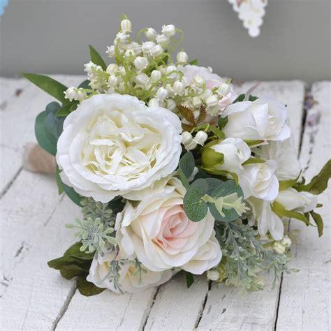 cream rose wedding bouquet faux flowers  abigail bryans