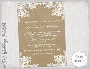Rustic wedding invitation template diy rustic lace for Diy rustic chic wedding invitations free printable template ahandcraftedwedding