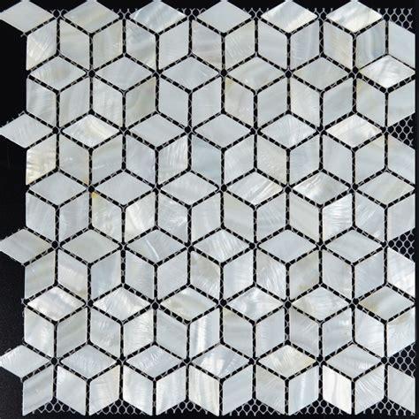 White mosaic tile backsplash rhombus kitchen mother of