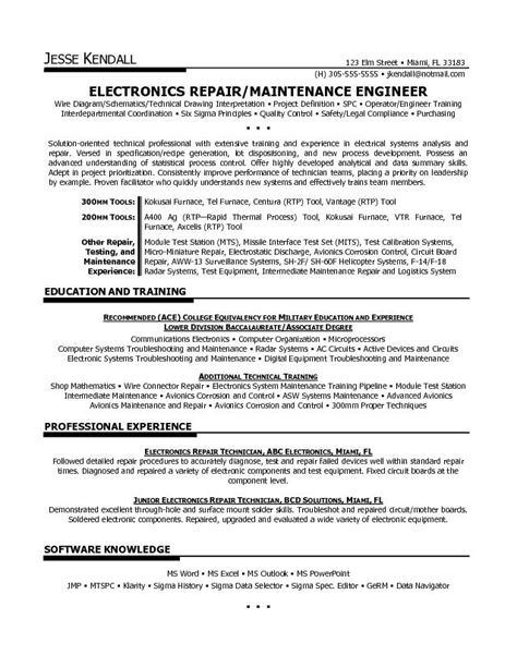 Federal Resume Electronics Technician by Free Electronics Repair Resume Exle