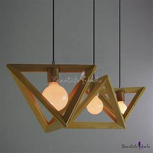 Wooden triangle brilliant design large pendant light for