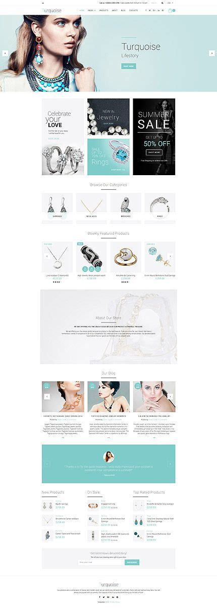 turquoise template template 58937 turquoise jewelry responsive website
