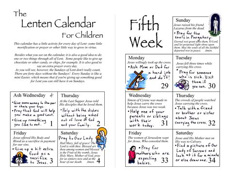lenten calendar for children the bulletin 345 | lent calendar pages 1 and 6