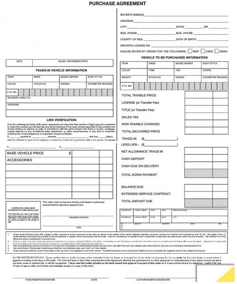 purchase agreement forms  autodealersuppliescom