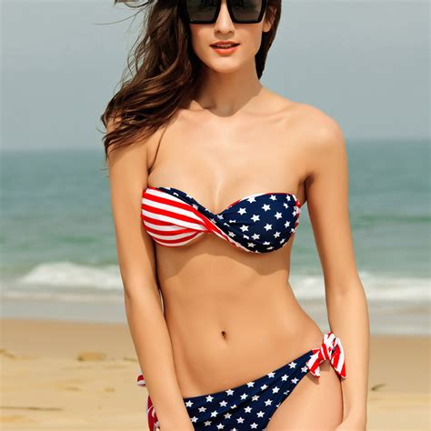lauraharring swimsuit new american flag sexy lace up fission bikini swimsuit