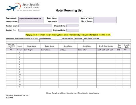 28 Hotel Rooming List Template