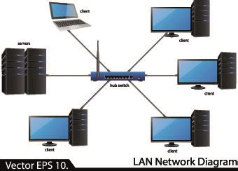 seamless paper lan network diagram vector illustration 01 vector other