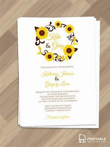 sunflowers wreath invitation for fall weddings wedding With wedding invitation templates with sunflowers