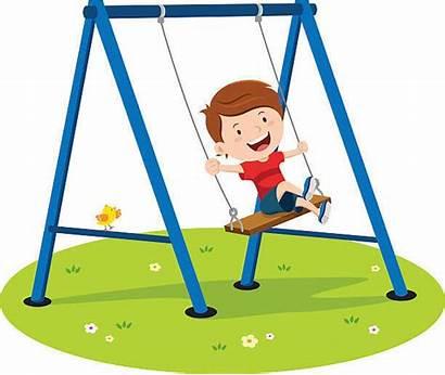 Swing Boy Playing Vector Playground Clip Cartoon