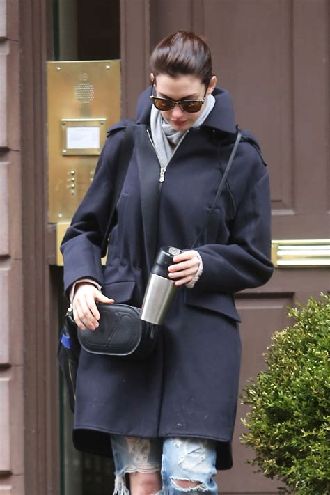 Anne Hathaway Leaving Her Home In New York City April 2015