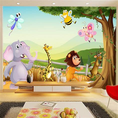 Puzzle Kayu Persegi Binatang Hutan kartun 3d wallpaper kebun binatang hutan dinding mural