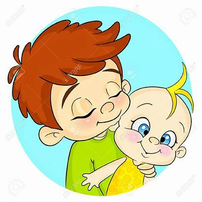 Brother Sister Cartoon Clipart Brothers Hugging Children