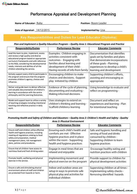 staff appraisal  lead educator aussie childcare network