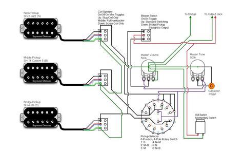 3 Wiring Strat by 3xhb 6xswitch Killswitch Sh2 Sh4 Sh14 Seymourduncan