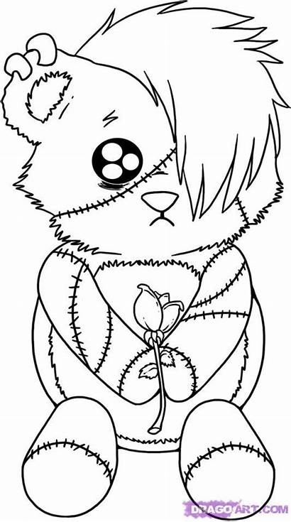 Emo Coloring Gothic Pages Fairy Easy Drawings