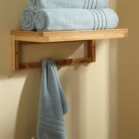 banyan bamboo towel rack  hooks bathroom