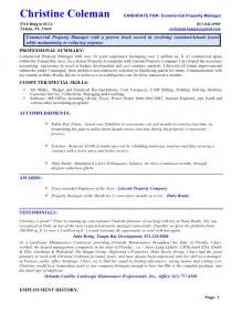 property management objective resume assistant property manager resume sles
