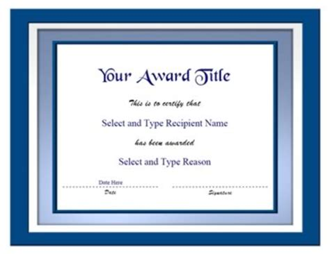 Blue Double Border Blank Certificate Template