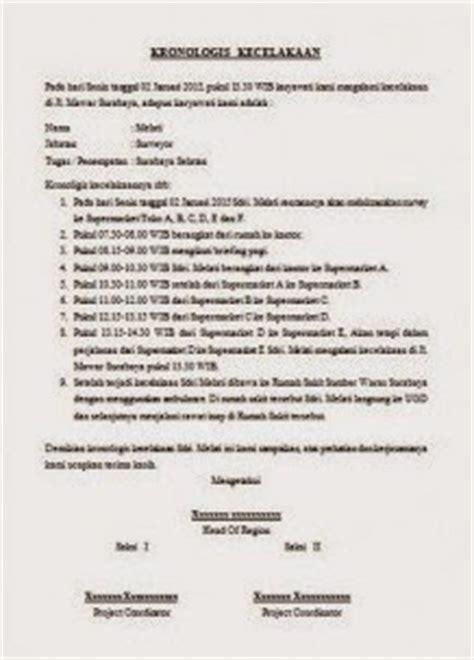Surat Kronologis by Contoh Bikin Kronologis Berita Acara Kecelakaan Kerja