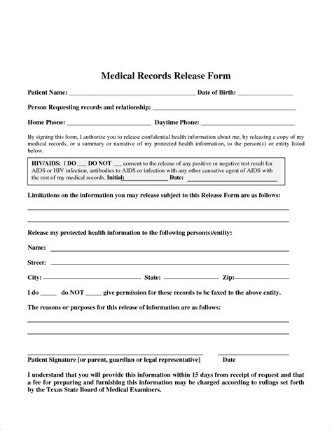 medical records release form template 7 blank medical records release form memo formats
