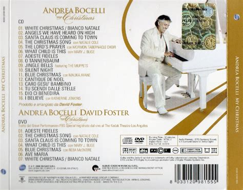 copertina cd andrea bocelli my christmas back cover