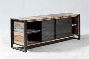 Meuble Tv 160 Cm : vente meuble tv 160 cm en bois recycl et m tal un style industriel pour votre salon ~ Teatrodelosmanantiales.com Idées de Décoration
