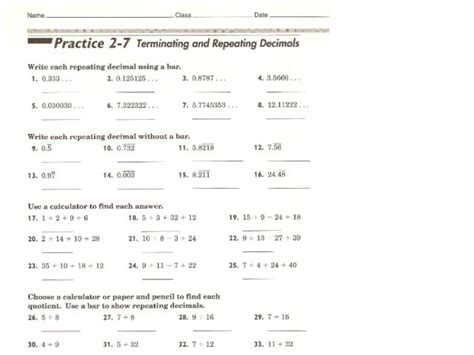 worksheets repeating decimals to fractions worksheet