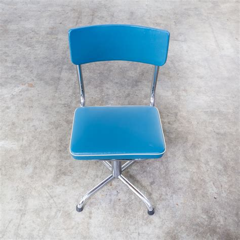 Office Chairs 60 by 60s Small Office Chair Blauw Skai With White Trim Barbmama