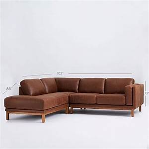 dekalb leather 3 piece chaise sectional west elm With 3 piece leather sectional sofa with chaise