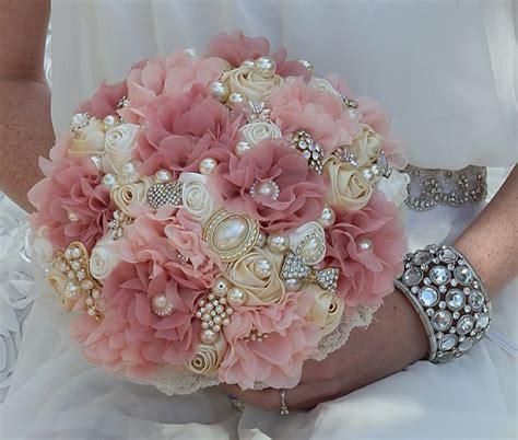 Pink Fabric Flower And Pearl Brooch Bouquet Brooch