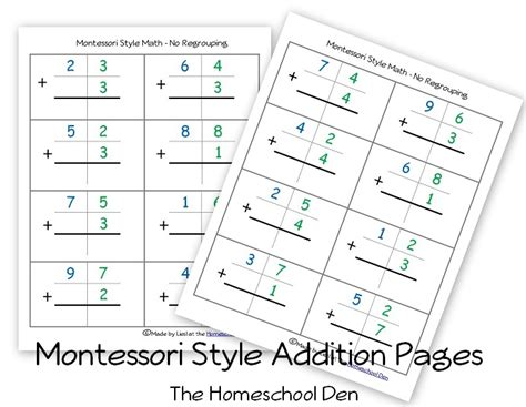 free montessori style addition sheets and place value