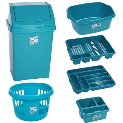 wham  piece bin basket washing  set teal  kitchen accessories