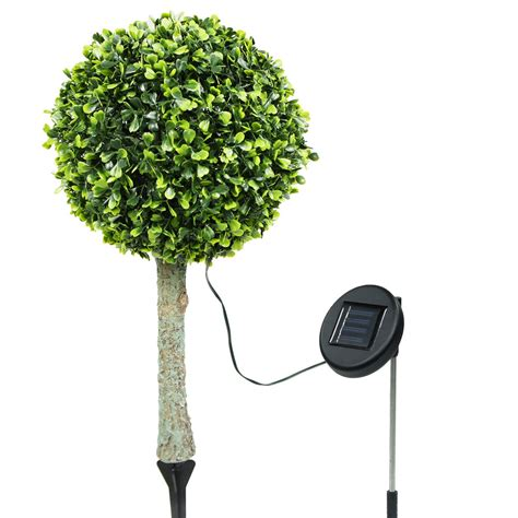 2 outdoor garden 30 led solar topiary tree bush landscape