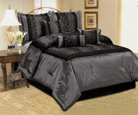 details   leopard silver gray black comforter set