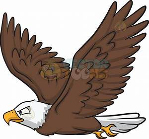A flying bald eagle Cartoon Clipart - Vector Toons