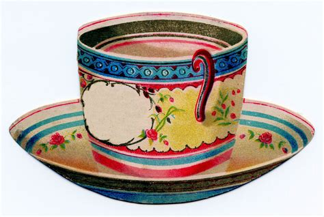 vintage clip art tea cup trade card  graphics